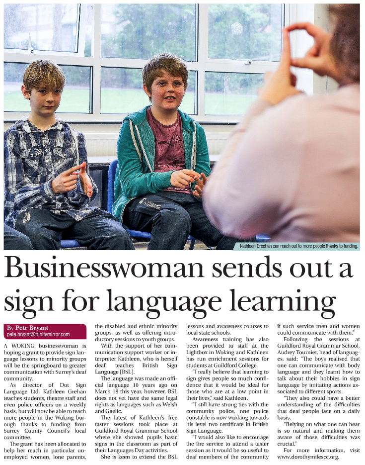 Surrey Ad Press Release for Dot Sign Language