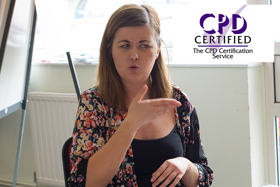 Lady doing BSL - image also shows CPD certificate