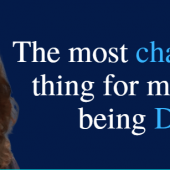 "Deaf Banner With Picture Of Me And Words ""The Most Challenging Thing For Me ABout Being Deaf"